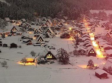 Winter's Night, Ogimachi Gassho Village, Japan