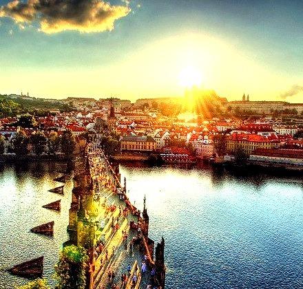 Sunset, Charles Bridge, Prague, Czech Republic